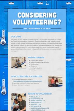 Considering Volunteering?
