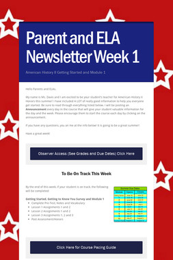 Parent and ELA Newsletter Week 1