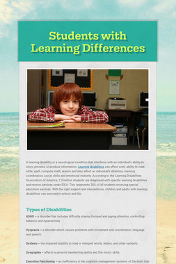 Students with Learning Differences