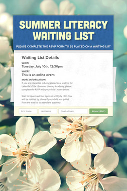 Summer Literacy Waiting List