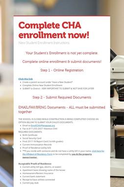 Complete CHA enrollment now!