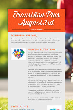 Transition Plus       August  3rd