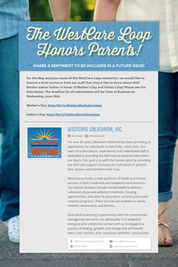 The WestCare Loop Honors Parents!
