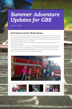 Summer Adventure Updates for GBE
