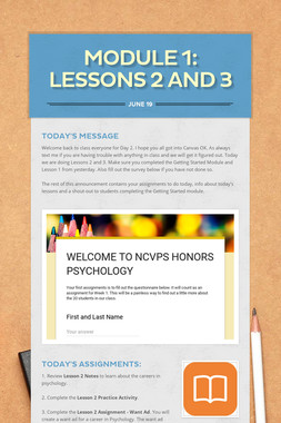 MODULE 1: LESSONS 2 AND 3