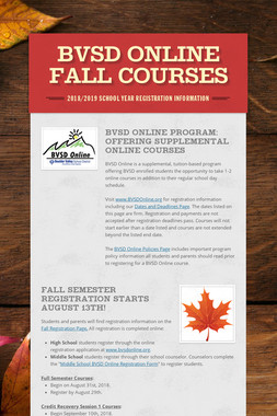 BVSD Online Fall Courses