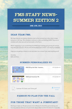 FMS Staff News-Summer Edition 2