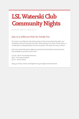 LSL Waterski Club Community Nights