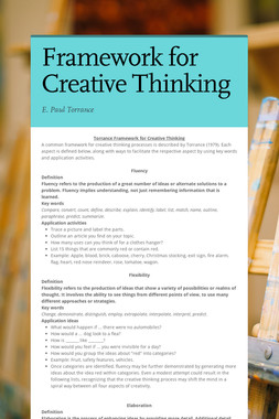 Framework for Creative Thinking