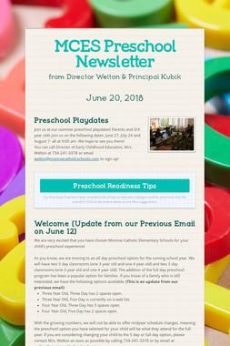 MCES Preschool Newsletter