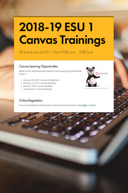 2018-19 ESU 1 Canvas Trainings
