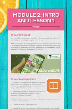 MODULE 2: INTRO and Lesson 1