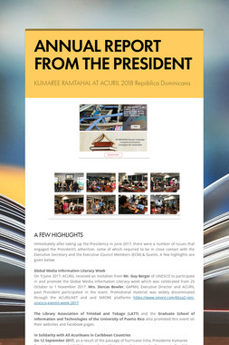 ANNUAL REPORT FROM THE PRESIDENT