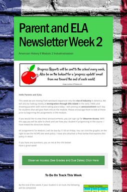 Parent and ELA Newsletter Week 2