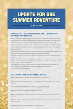 Update for GBE Summer Adventure