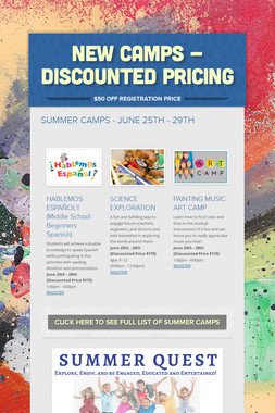 NEW CAMPS - DISCOUNTED PRICING