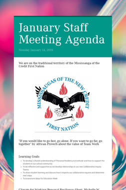 January Staff Meeting Agenda