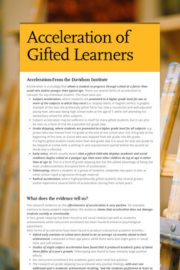 Acceleration of Gifted Learners