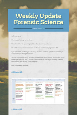 Weekly Update Forensic Science