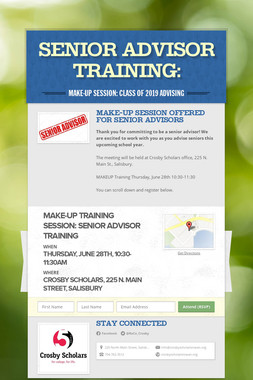 Senior Advisor Training: