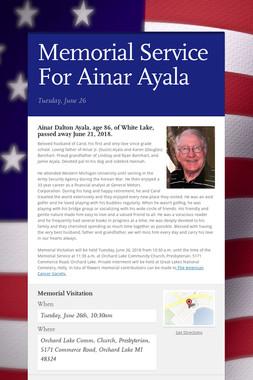 Memorial Service For Ainar Ayala