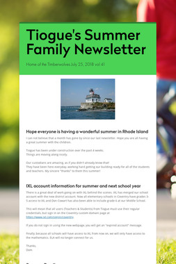 Tiogue's Summer Family Newsletter