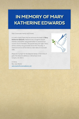 In Memory of Mary Katherine Edwards