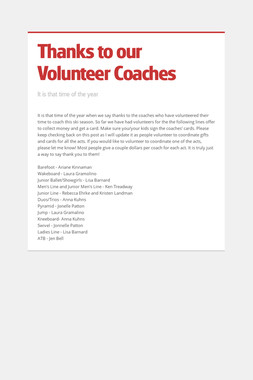 Thanks to our Volunteer Coaches