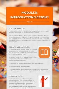 MODULE 3: INTRODUCTION/Lesson 1