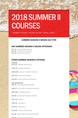 2018 SUMMER II COURSES