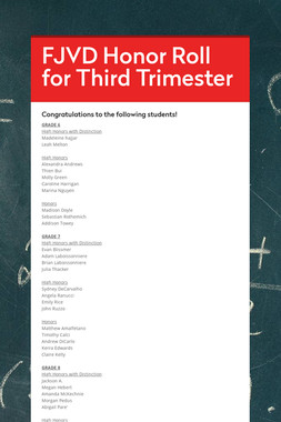 FJVD Honor Roll for Third Trimester