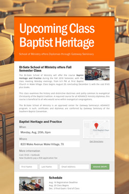 Upcoming Class Baptist Heritage