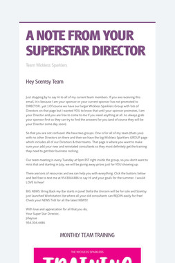 A NOTE FROM YOUR SUPERSTAR DIRECTOR