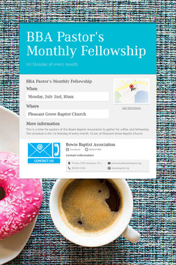 BBA Pastor's Monthly Fellowship