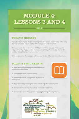 MODULE 4: lessons 3 and 4