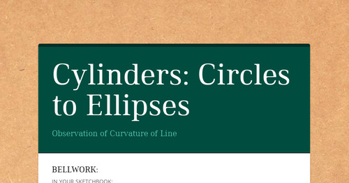 Cylinders: Circles to Ellipses | Smore Newsletters for Education