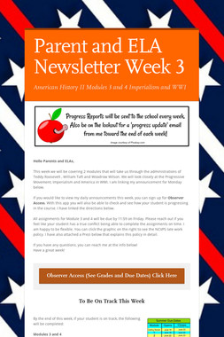 Parent and ELA Newsletter Week 3