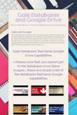 Gale Databases and Google Drive