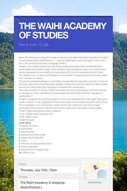 THE WAIHI ACADEMY OF STUDIES