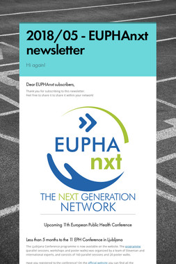 2018/05 - EUPHAnxt newsletter