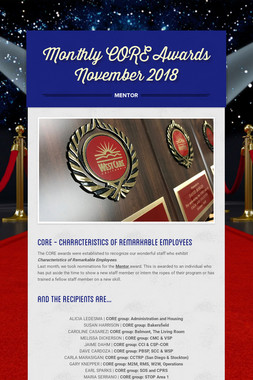 Monthly CORE Awards November 2018