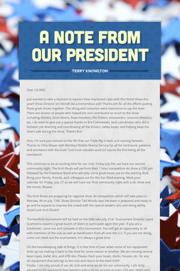 A Note from our President