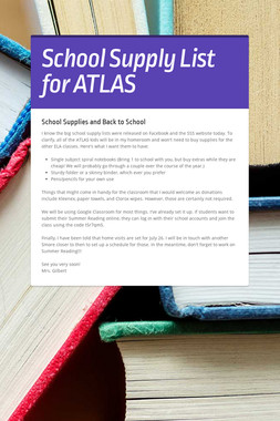 School Supply List for ATLAS