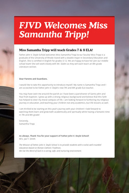 FJVD Welcomes Miss Samantha Tripp!