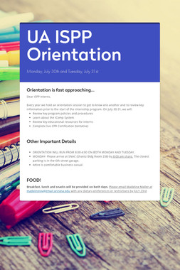 UA ISPP Orientation