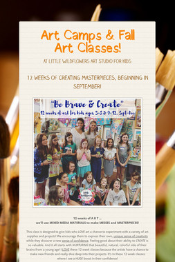 Art Camps & Fall Art Classes!