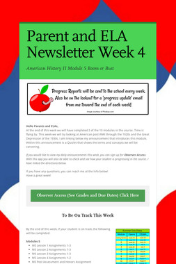 Parent and ELA Newsletter Week 4