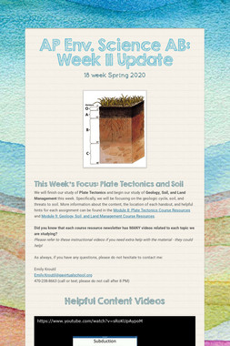 AP Env. Science AB: Week 11 Update