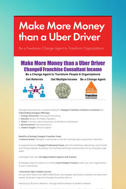 Make More Money than a Uber Driver