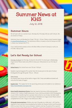 Summer News at KHS